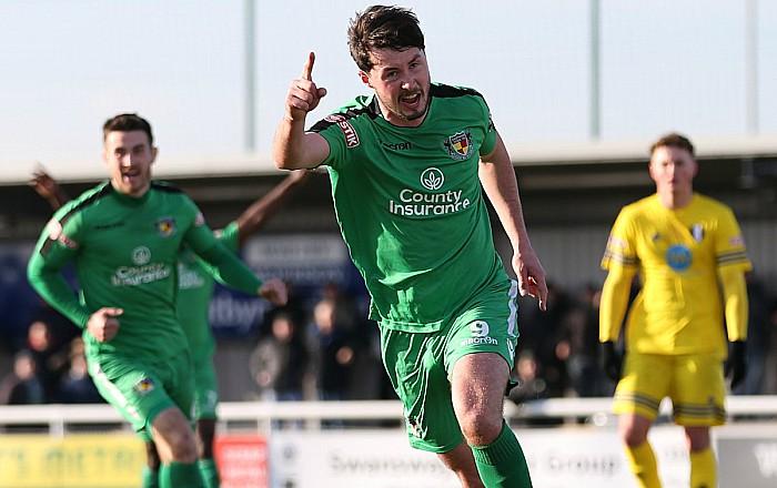 Harry Clayton celebrates against Grantham