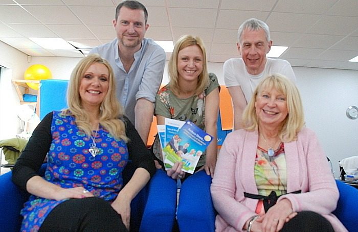 Spa event - Helen Lowe, business manager at ctchealthcare (centre) with health and wellbeing specialists Tianne Croshaw, Marie Arrowsmith, Adam Pavey and Rod Beaumont