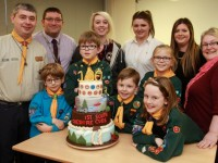 Reaseheath College's birthday cake celebration for cub and scout group