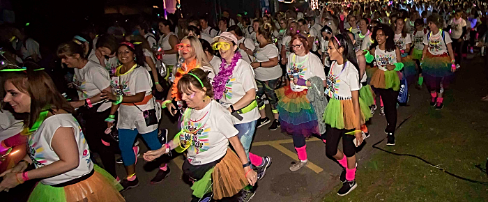 Hundreds of woman at start of Midnight Walk in Nantwich