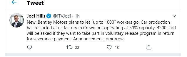 ITV tweet Bentley Motors