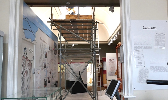 Installation of ultra violet light filters at Nantwich Museum September 2020. (1)