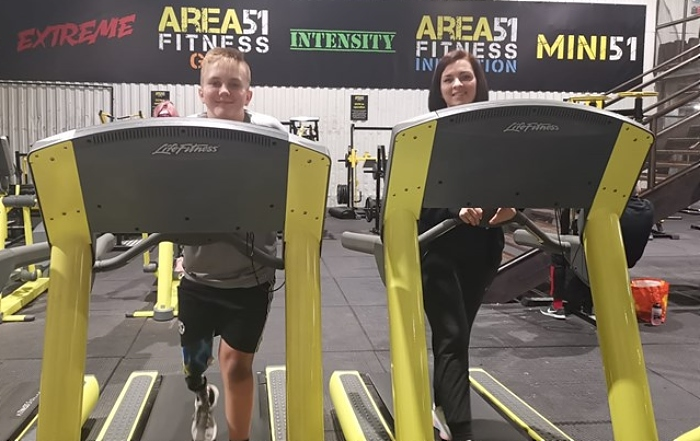Jack and teacher Julie-Anne in training at Area 51