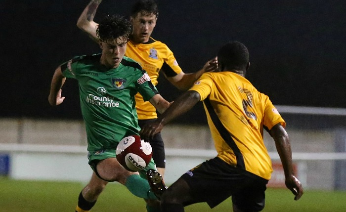 Jamie Morgan controls the ball