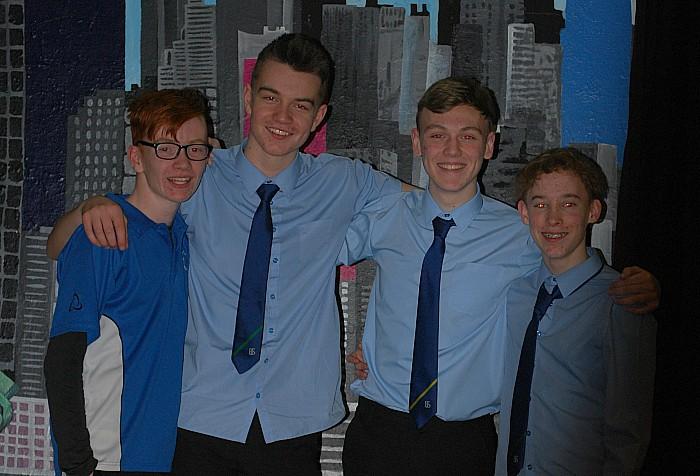 Jason Prophett, Adam Boulton, Adam Whitehead and Ben Smith wait to rehearse their leading roles