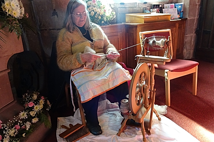 Jean Betteridge gives a spinning demonstration in the St. Michael & All Angels Parish Church (1)
