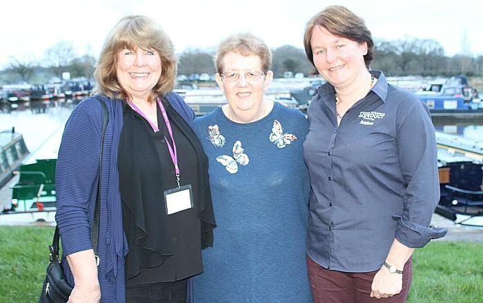 Jeanette Wild, Kidney Research UK; Audrey Foulkes, Aqueduct Marina moorer; Andrea Parton, Aqueduct Marina director
