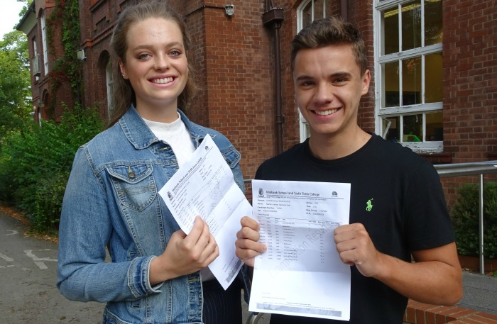 Jemima Lucas and Nathan Spencer-Hall celebrating their exam success at Malbank