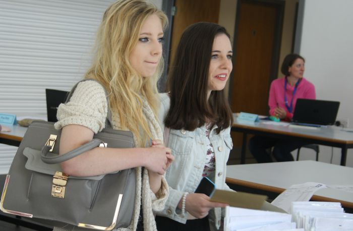 Jess Small and April Cunliffe line up to get their results