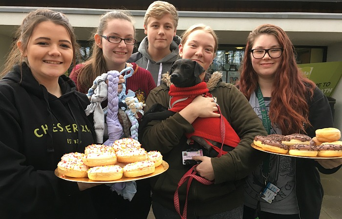 Jessica Sankey, Emily Graham, Emily Allcok, Ollie Clark and Megan Blakeley with dog Tilly