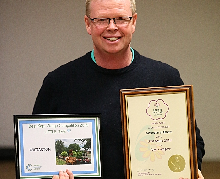 Jim Dentith from Crewe Road Nurseries with the Cheshire Community Action Little Gem award and the Britain in Bloom Wistaston in Bloom Gold Award (1)
