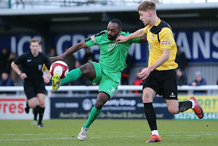 Nantwich v Sutton - Joe Mwasile controls the ball