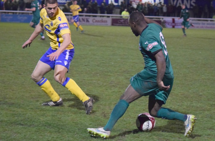 Joe Mwasile wrong-foots a defender