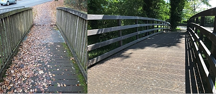 Joey Before and After - plastic bridge