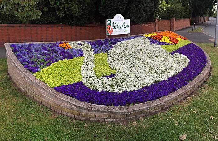 Joey the swan flowerbed on Church Lane in Wistaston (2)