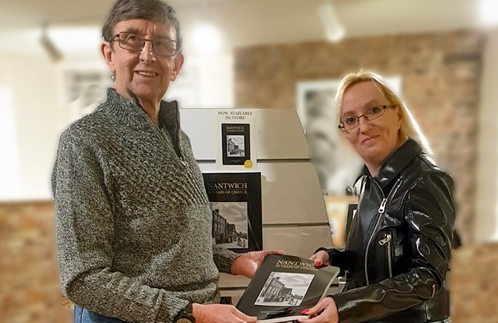 John Hickson at book launch at Johnsons with Julie Ann Mulvey who runs Nantwich Memories group