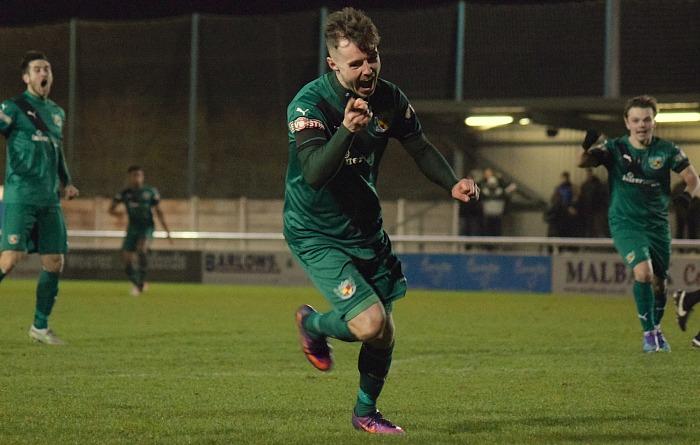 John Johnston celebrates scoring the second goal for Nantwich Town v Blyth leaders