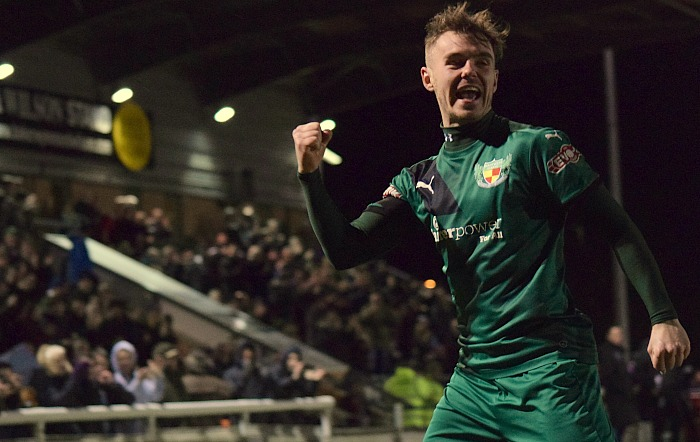 John Johnston celebrates scoring the second goal for Nantwich Town v leaders Blyth