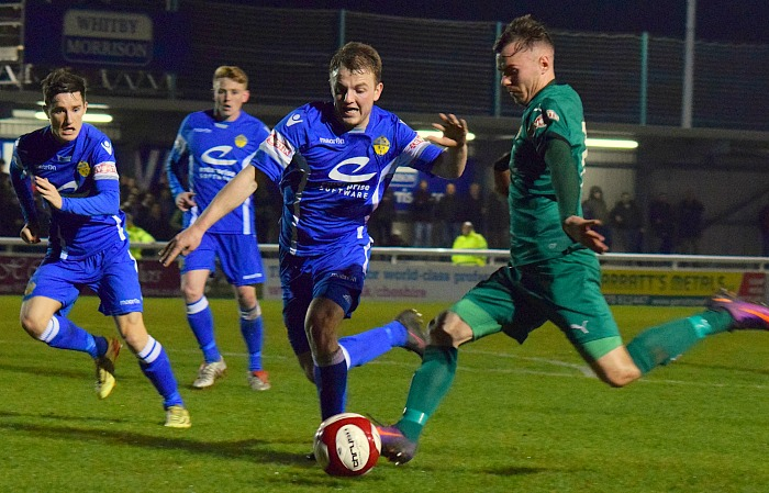 John Johnston shoots for goal as Nantwich reach Cheshire Senior Cup final