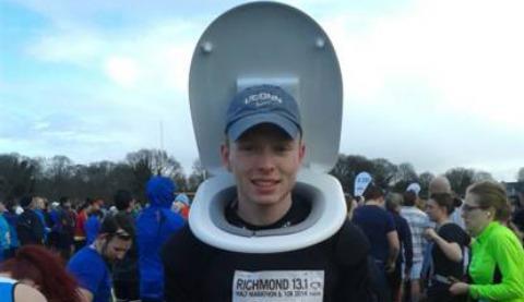 Nantwich student runs half marathon dressed in a toilet seat