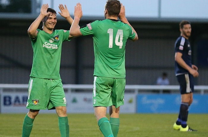 Jordan Davies celebrates scoring his goal against Rhyl