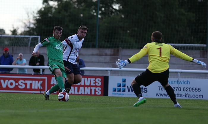 Jordan Davies scores for Nantwich v Newcastle Town