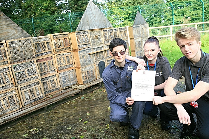 Josh Callaghan, Rhe Foster, Kye Tempest, L3 ex Dip Animal Management students with Royal letter