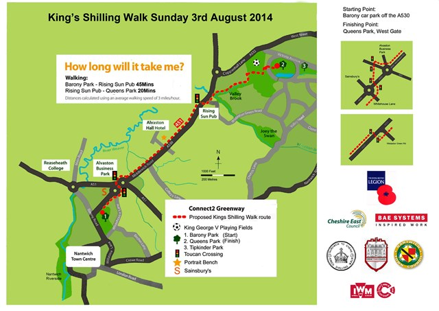King's Shilling Walk route