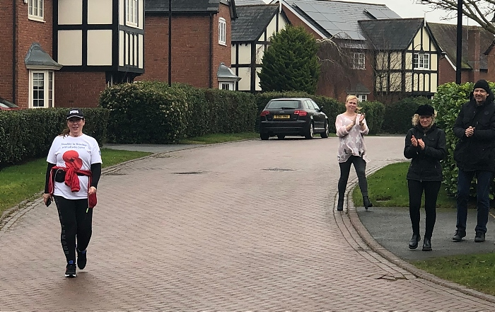 Karen Delay completes the last few steps of her epic walk (1)