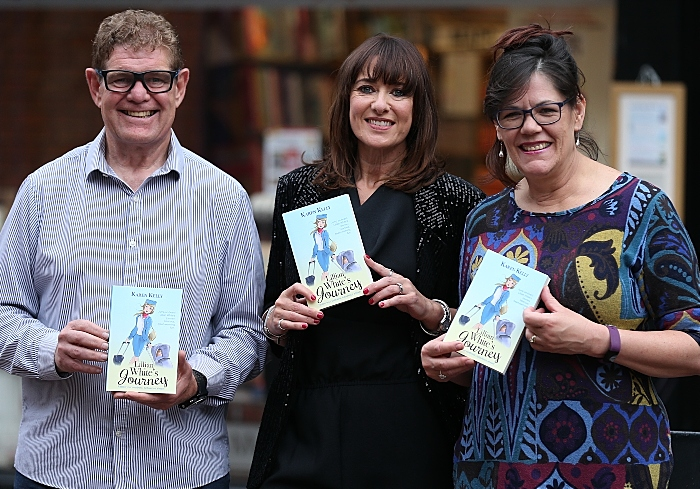 author Karen Kelly (centre) with Steve Lawson and Denise Lawson from the Nantwich Bookshop & Coffee Lounge (1)