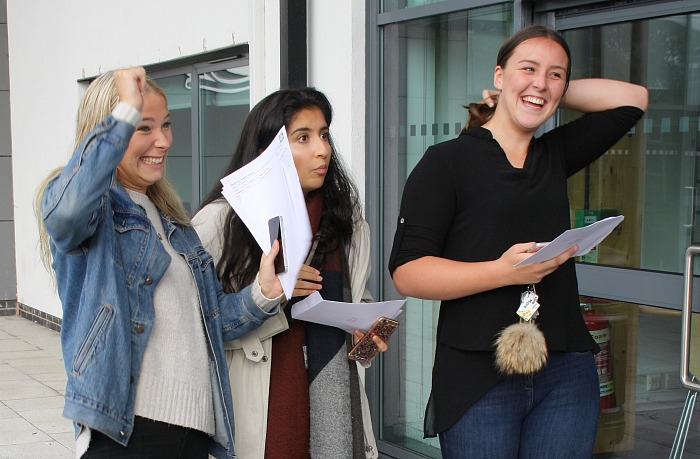 Katy Preston, Miriam Karim and Kiera McKenna all show their delight with their results - after the long wait