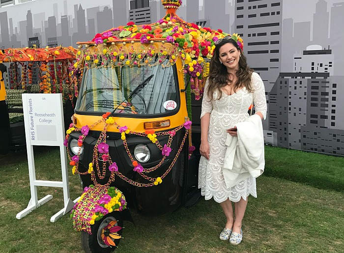 Floristry students - Kelly Brook with Reaseheath College's tuk-tuk Credit TukTuk UK