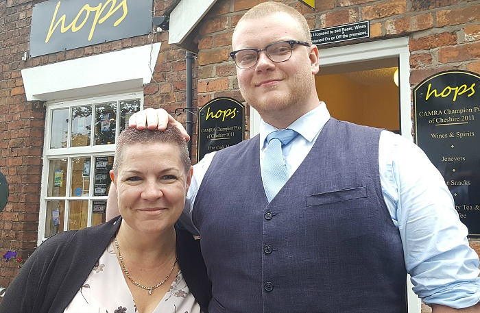 Kerri Williams and Tom Essex after the charity head shaved