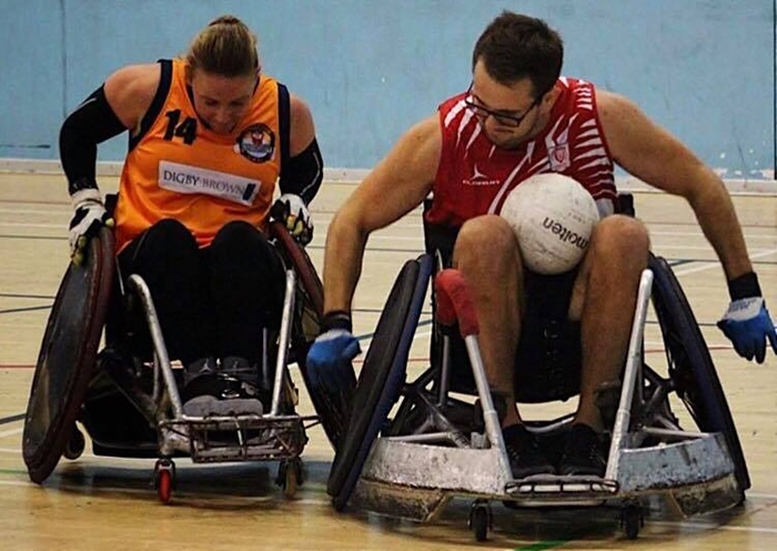 Kieran Flynn (right) in wheelchair rugby