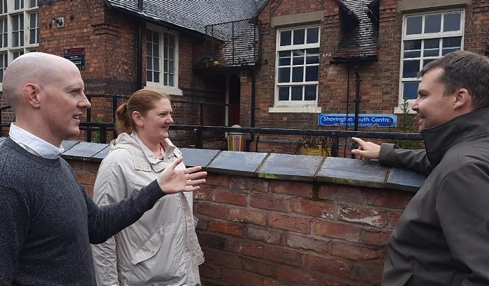 Kieran meeting with parish councillors Russel Jones and Claire Hackett (1)