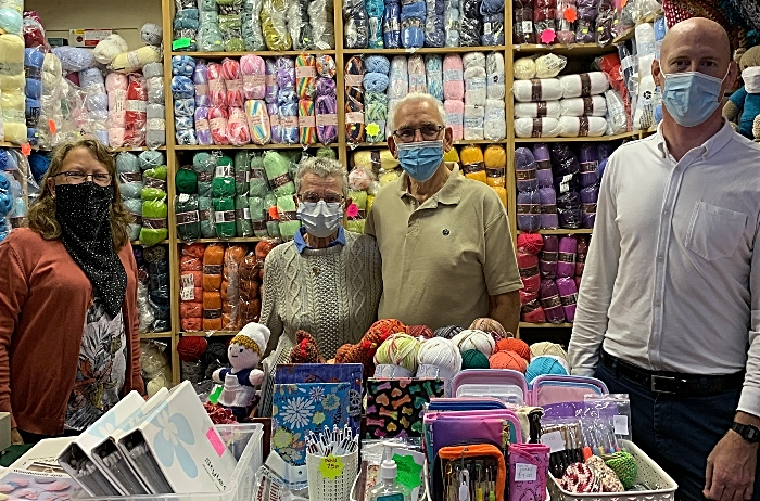 market trader retires - Kieran with Mary Faulkner her husband and new stall holder Tina Cartwright