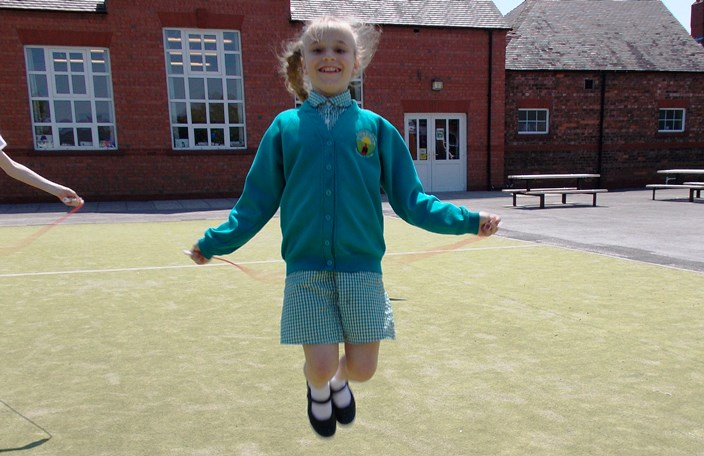 Lacey skipping for Wyche primary as part of BHF event
