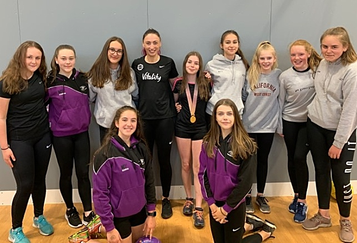 Ladyhawks netball Juniors with Jade Clark