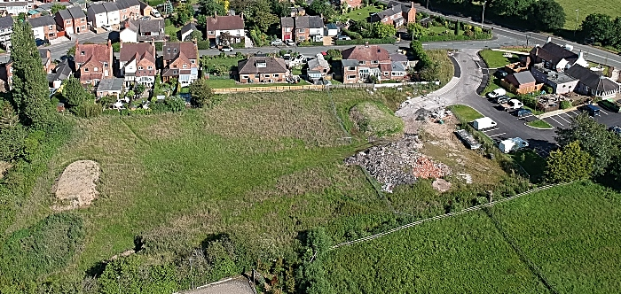 aerial view of land behind elephant pub in shavington and Main road access