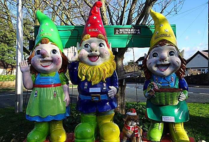 Large gnomes on display