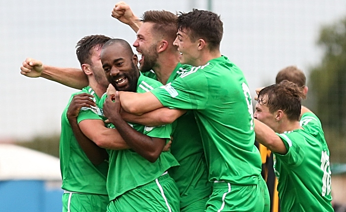 Last minute winner from Joe Mwasile - celebrations with teammates - FA Cup