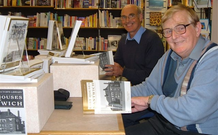 Launch of the first edition of Lost Houses in Nantwich. l to rt Andrew Lamberton and the late Robin Gray (1)