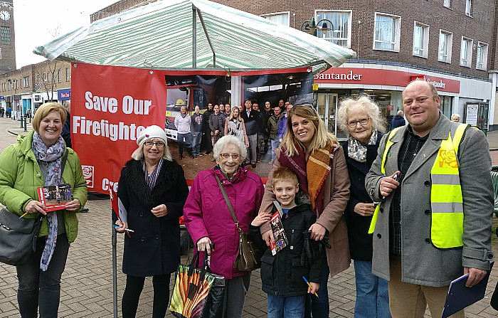 Laura Smith MP and Labour party campaigners in Crewe fighting for fire station provision