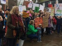 Laura Smith, organiser, with protestors