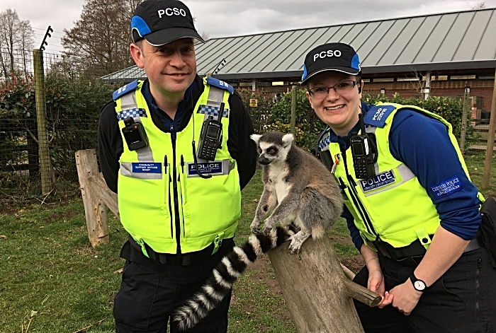 Lee Berry and Vickie Wallace, Nantwich Police Community Support Officers with lemur (1)