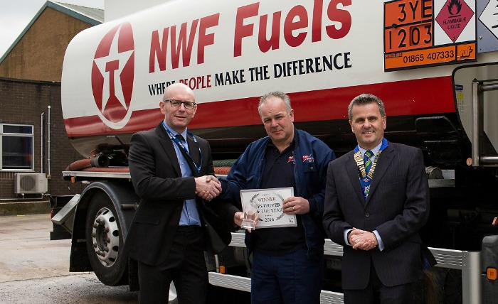 Left to right - Graham Smerdon Pen Underwriting, Driver of the Year Winner Ian Ross of NWF and Duncan Grant FPS President