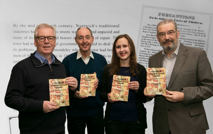 Left to right Nick Dyer, Graham Dodd, Denise Courcoux and Keith Lawrence, local history book, Photo Paul Topham