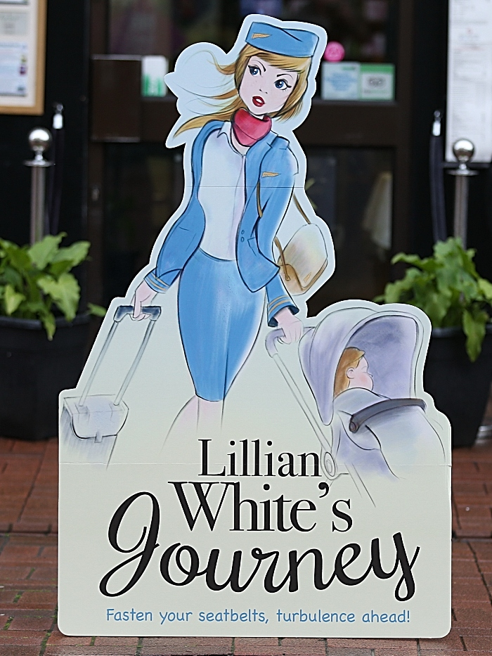 Lillian White's Journey book cover cut-out outside Nantwich Bookshop & Coffee Lounge (1)