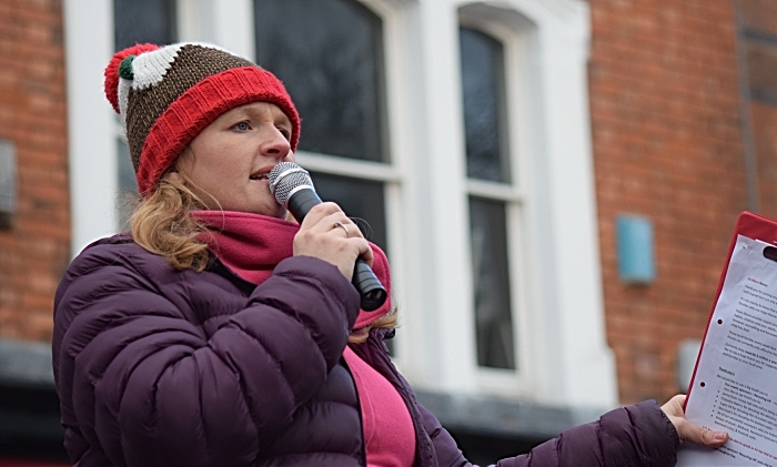 Liz Parkin from online community radio station RedShift Radio comperes the event on the town square
