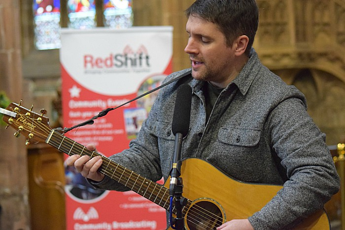 Local musician Tim Lee performs on the RedShift stage in St Marys Church Nantwich